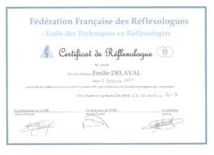 Diplôme Réflexologue-Paris Emilie DELALVAL